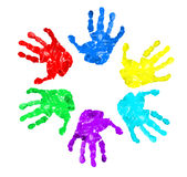 Set of hand prints of diffrent colors. Isolated on white Royalty Free Stock Image