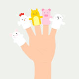 Set of hand puppets. Hand with animal finger puppets Royalty Free Stock Photography