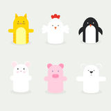 Set of hand puppets. Vector set of hand puppets Stock Photos