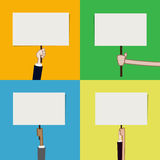 Set of hand showing blank sign board vector illustration Royalty Free Stock Image