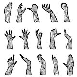 Set of hand silhouettes. Set of 15 hand drawn decorative hand silhouettes, design elements Royalty Free Illustration