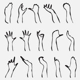 Set of 15 hand silhouettes Royalty Free Stock Photography