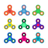 Set of Hand spinner toys in flat and cartoon style. White background. vector icons. Set of Hand spinner toys in flat and cartoon style. White background. vector Royalty Free Stock Image