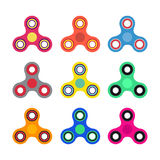 Set of Hand spinner toys in flat and cartoon style. White background. vector icons. Set of Hand spinner toys in flat and cartoon style. White background. vector Royalty Free Stock Photos