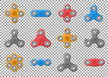 Set of Hand spinner toys. realistic yellow, red and gray spinner vector icons on transparent background royalty free illustration