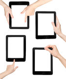 Set of hand and tablet PC, isolated on white background. Hand in the tablet PC, isolated on white background Royalty Free Stock Photography