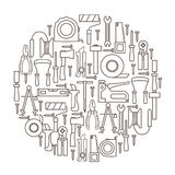 A set of hand tools for construction and repair located inside the circle on a white background. Royalty Free Stock Image