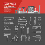 Set of hand tools. Icons. Hand tools for home renovation and construction Royalty Free Stock Images