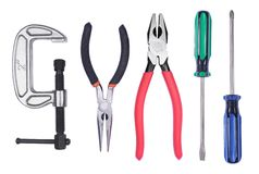 Set of hand tools. Set of various hand tools isolated on a white background Stock Photos
