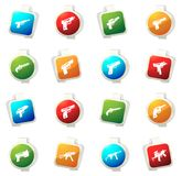 Set of hand weapons. Hand weapons color icon for web sites and user interfaces Royalty Free Stock Images