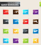 Set of hand weapons. Hand weapons icons for your design glossy bookmarks Royalty Free Stock Photo