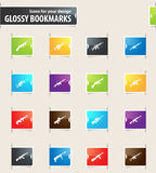 Set of hand weapons. Hand weapons icons for your design glossy bookmarks Royalty Free Stock Photos