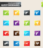 Set of hand weapons. Hand weapons icons for your design glossy bookmarks Royalty Free Stock Images