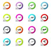 Set of hand weapons. Hand weapons pointer on the color icons for your design Stock Photo