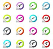 Set of hand weapons. Hand weapons pointer on the color icons for your design Stock Photos