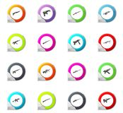 Set of hand weapons. Hand weapons pointer on the color icons for your design Stock Photography
