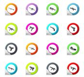 Set of hand weapons. Hand weapons pointer on the color icons for your design Stock Images
