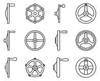 Set of hand wheel icons for operation and adjustment. Thin line vector Stock Photos