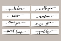 Set of hand written inspirational lettering Royalty Free Stock Photos