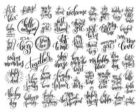 Set of 50 hand written lettering about family and baby born Royalty Free Stock Photos