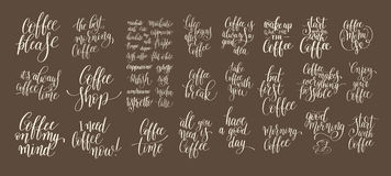 Set of hand written lettering inscription design to coffee shop Stock Image
