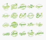 Set of hand written lettering logos of vegetarian, natural, organic, farm fresh. Stock Images