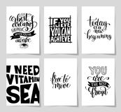 Set of 6 hand written lettering positive inspirational quote pos Royalty Free Stock Photography