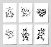 Set of 6 hand written lettering positive inspirational quote. Posters about life A4 format, modern calligraphy vector illustration collection stock illustration