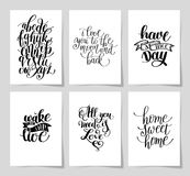 Set of 6 hand written lettering positive inspirational quote. Posters about life A4 format, modern calligraphy vector illustration collection vector illustration