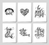 Set of 6 hand written lettering positive inspirational quote Stock Images