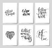 Set of 6 hand written lettering positive inspirational quote Royalty Free Stock Photography