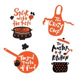 Set of hand written lettering quotes and phrases about cooking. Illustration of pan, bowl, apron, iron. Doodle style. Concept for stock illustration