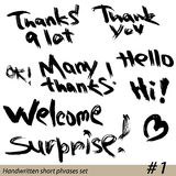 Set of Hand written short phrases HELLO, THANK Royalty Free Stock Images