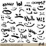 Set of Hand written short phrases Stock Image