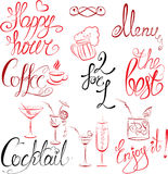 Set of hand written text: Happy Hour, Menu, Coffee Stock Images