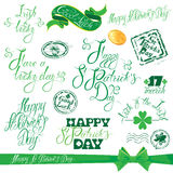 Set of hand written text: Happy St. Patricks Day, Good luck, etc Stock Images