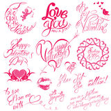 Set of hand written text: Happy Valentine`s Day, I love you. Be my Valentine, etc. Calligraphy elements for holidays or wedding design in vintage style, hearts Stock Images