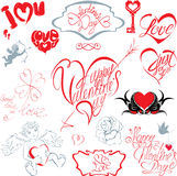 Set of hand written text: Happy Valentine`s Day, I love you, Jus Stock Image