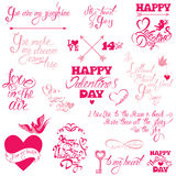 Set of hand written text: Happy Valentine`s Day, I love you, Lov Royalty Free Stock Photos