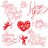 Set of hand written text: Happy Valentine`s Day, I Stock Photo