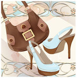 Set of handbag and shoes. Fashion boutique. Stock Photo