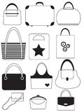 Set of handbags. Set of black and white bags and handbags Stock Photos