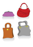 Set of handbags. Vector icon set of different bags Royalty Free Stock Photo