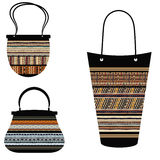 Set of handbags in style Tribal Royalty Free Stock Photos