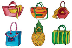 Set of handbags. Set of  watercolor handbags of cards scrapbooking Royalty Free Stock Image