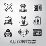 Set of handdrawn AIRPORT icons - airplane, airport Stock Images