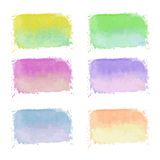 Set of handdrawn bright watercolor labels Royalty Free Stock Photo