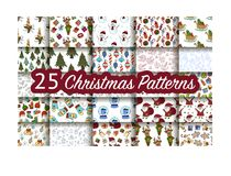 Set of 25 handdrawn Christmas seamless pattern. Vector holliday winter illustrations Royalty Free Stock Image