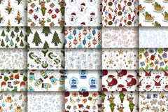 Set of 25 handdrawn Christmas seamless pattern. Vector holliday winter illustrations Royalty Free Stock Images