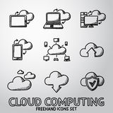 Set of handdrawn Cloud Computing icons. Vector Royalty Free Stock Images